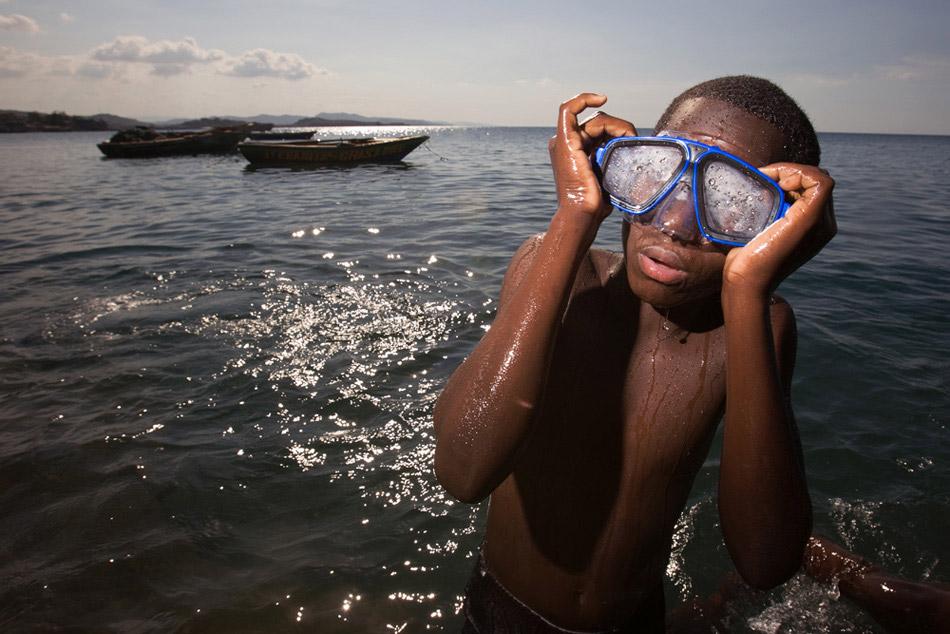 Haiti orphan, swimming